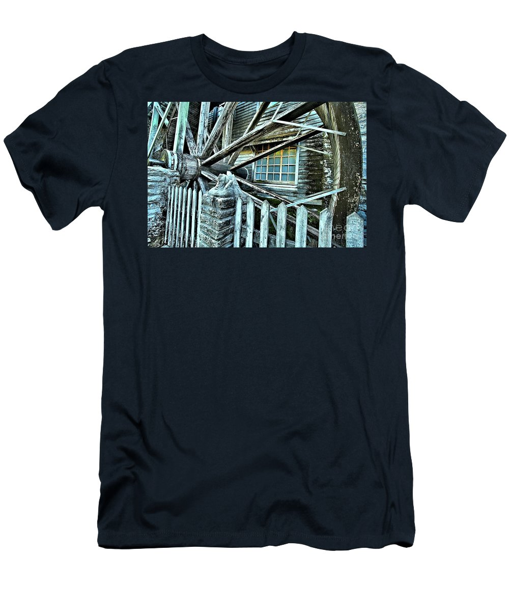 Corn Grinder Men's T-Shirt (Athletic Fit) featuring the photograph Window On The Wheel by Adam Jewell