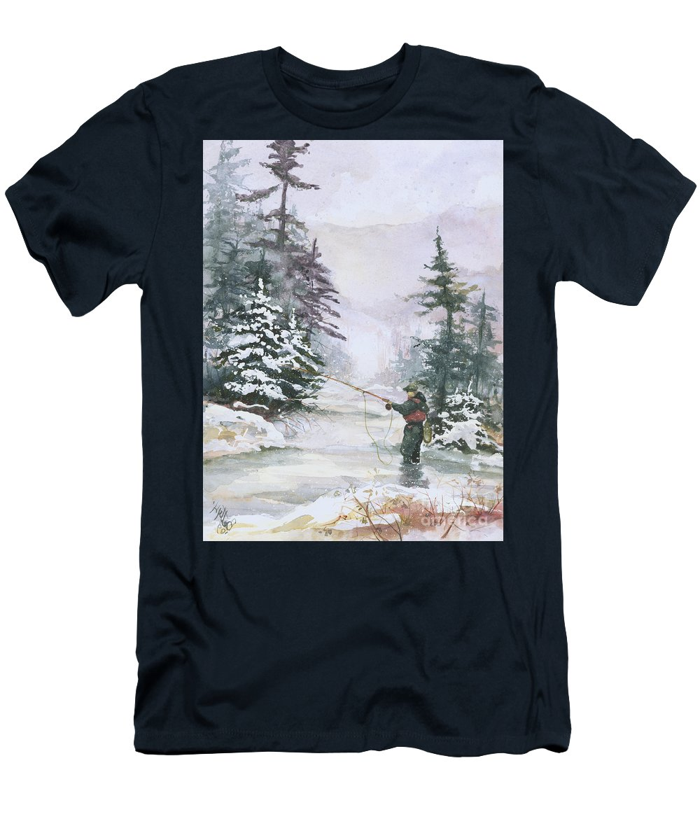 Magic Men's T-Shirt (Athletic Fit) featuring the painting Winter Magic by Elisabeta Hermann