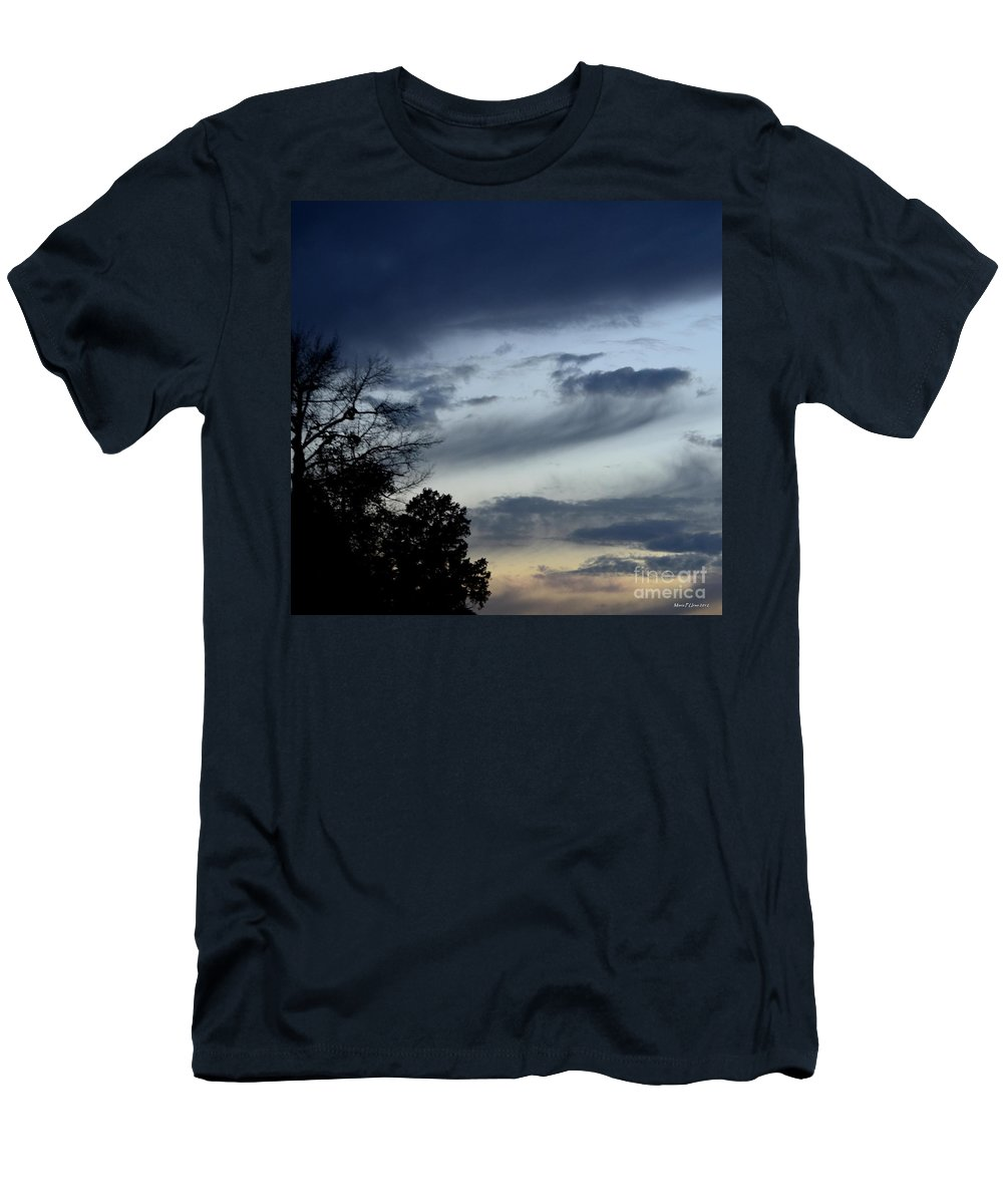 Wispy Clouds One December's Eve Men's T-Shirt (Athletic Fit) featuring the photograph Wispy Clouds One December's Eve by Maria Urso