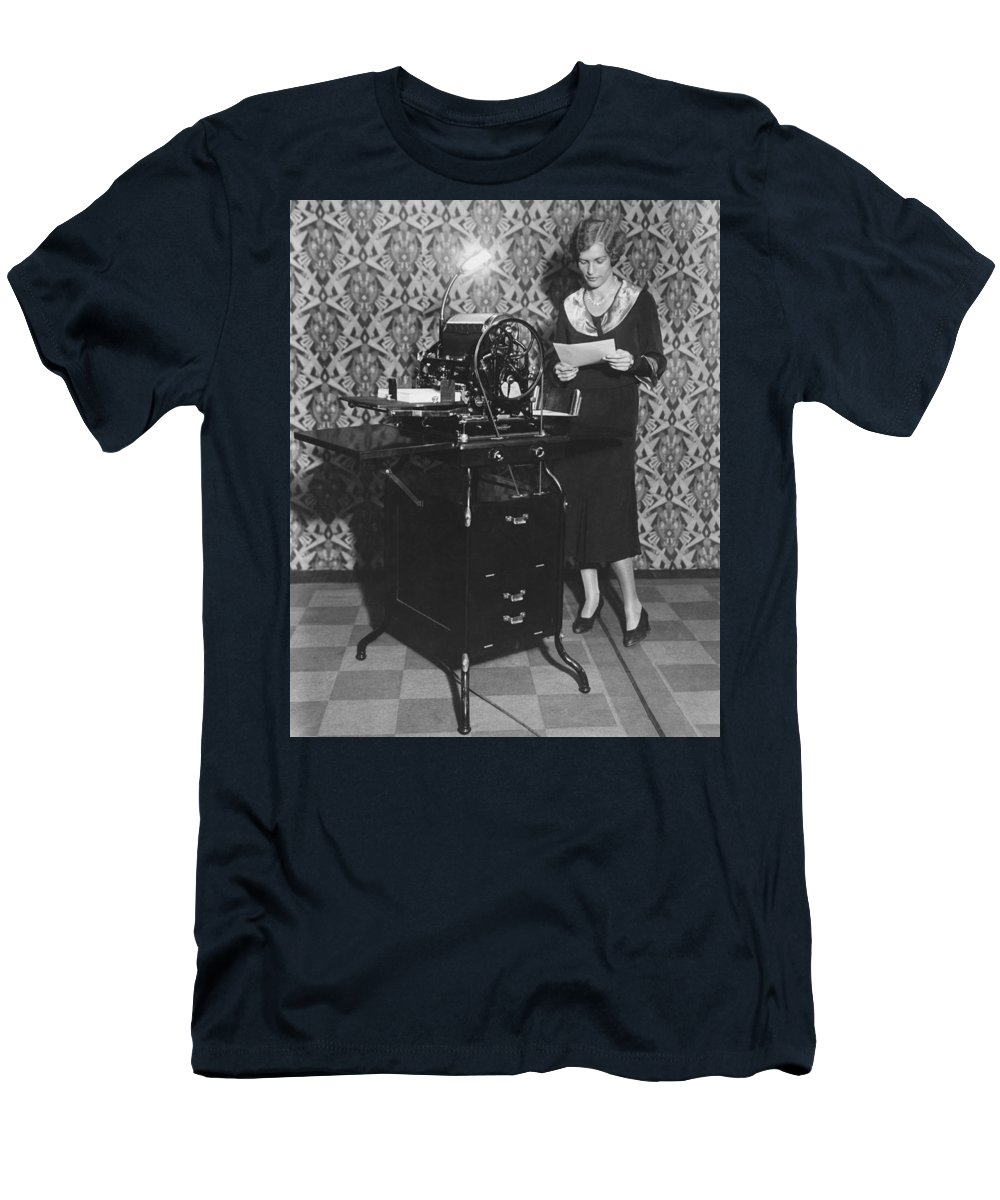 1 Person Men's T-Shirt (Athletic Fit) featuring the photograph Woman Demonstrates Duplicator by Underwood Archives