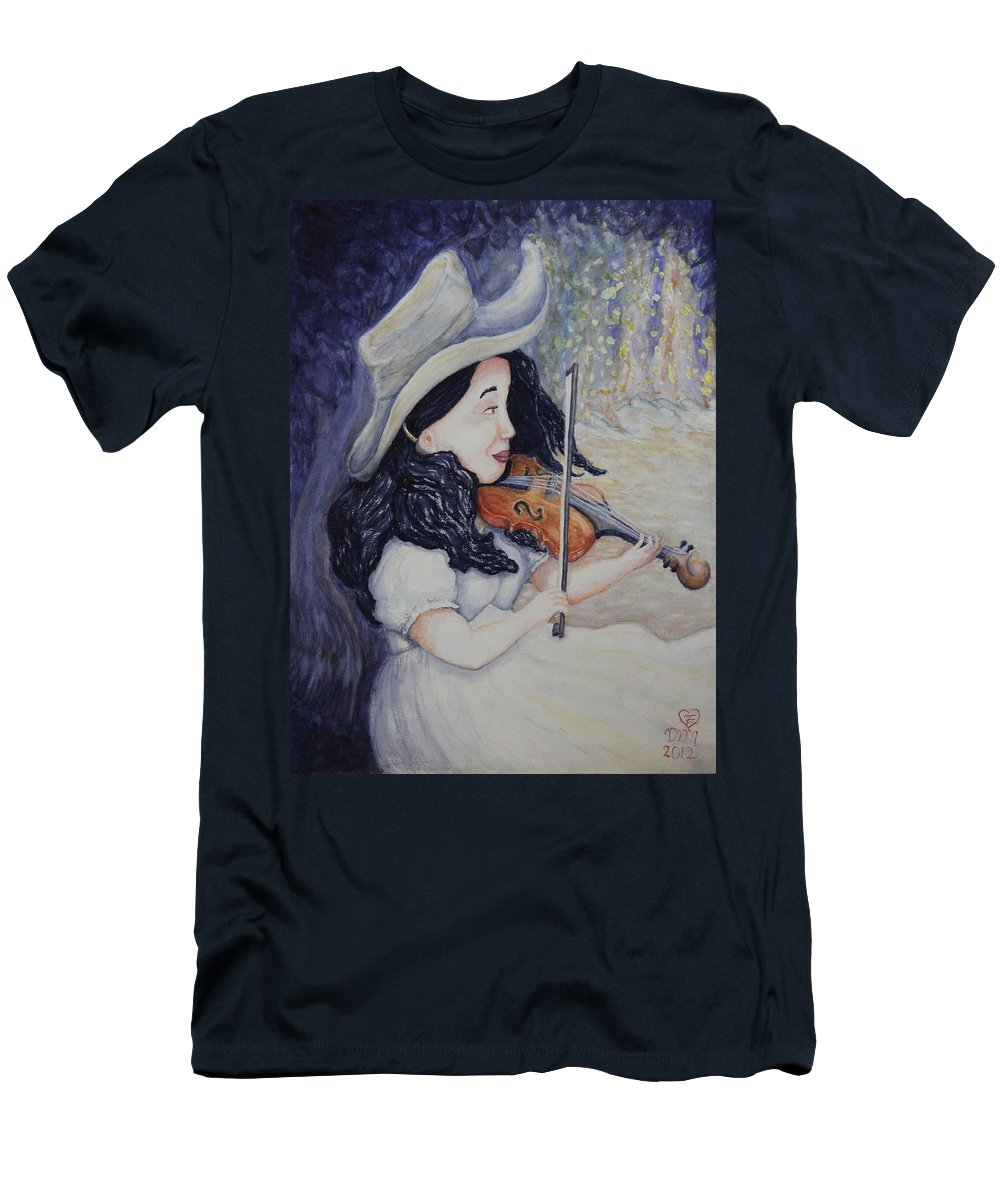 Fiddle Men's T-Shirt (Athletic Fit) featuring the painting Woman's Autumnal Twilight Serenade by Dawna Morton