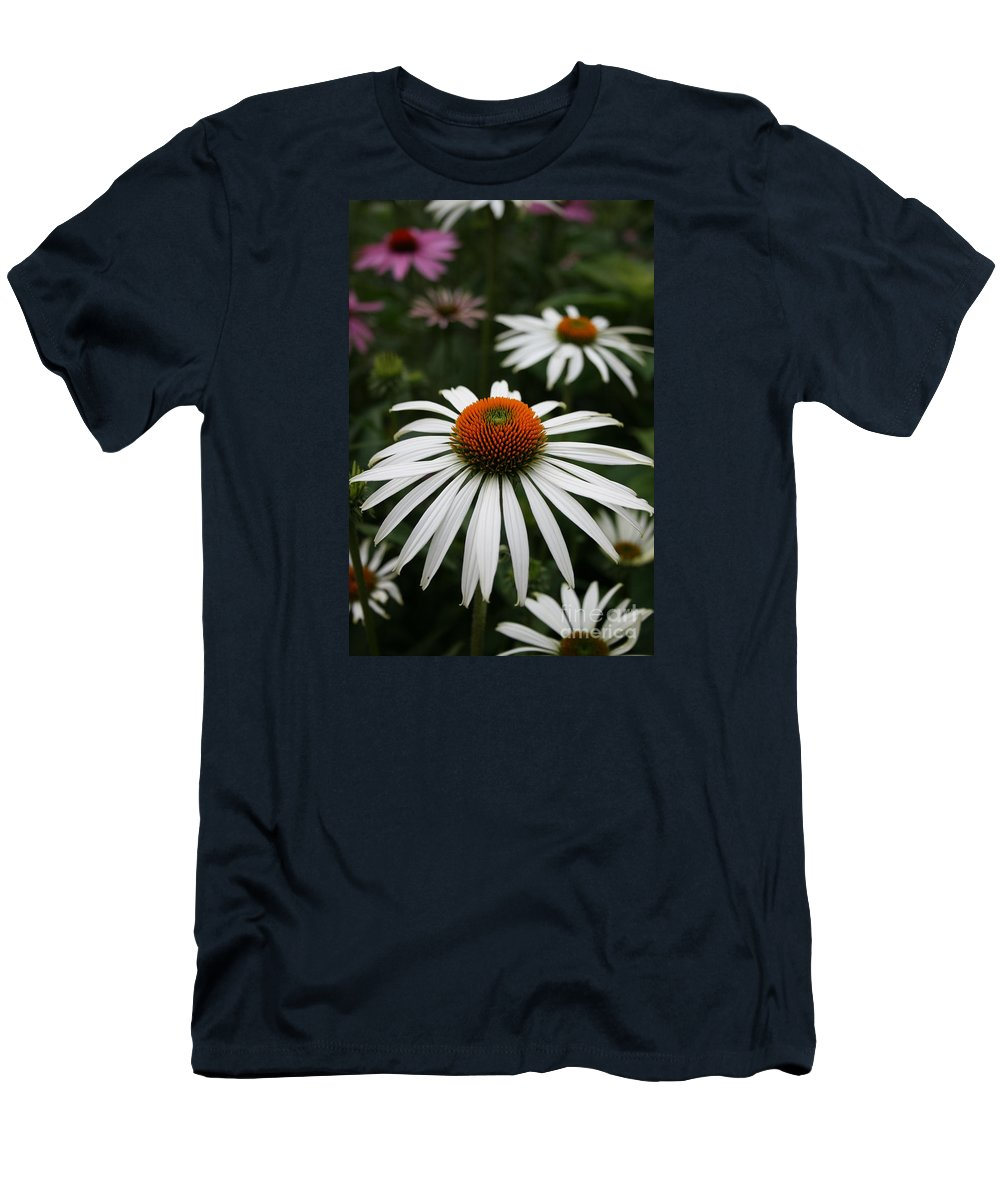 Flowers Men's T-Shirt (Athletic Fit) featuring the photograph Wonderful White Cone Flower by Kathy DesJardins