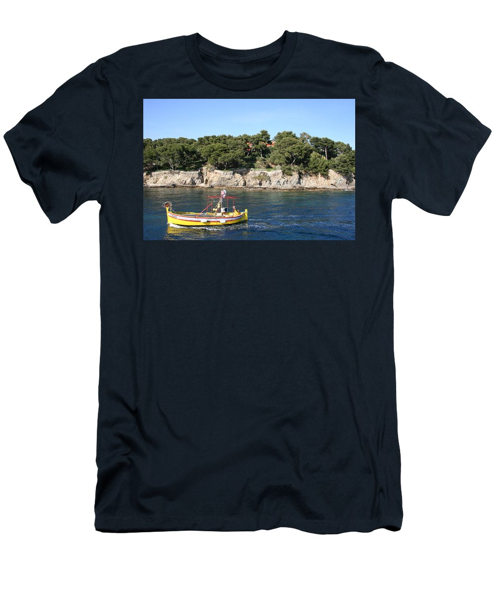 Fishing Boat Men's T-Shirt (Athletic Fit) featuring the photograph Yellow Fishing Boat - Cote D'azur by Christiane Schulze Art And Photography