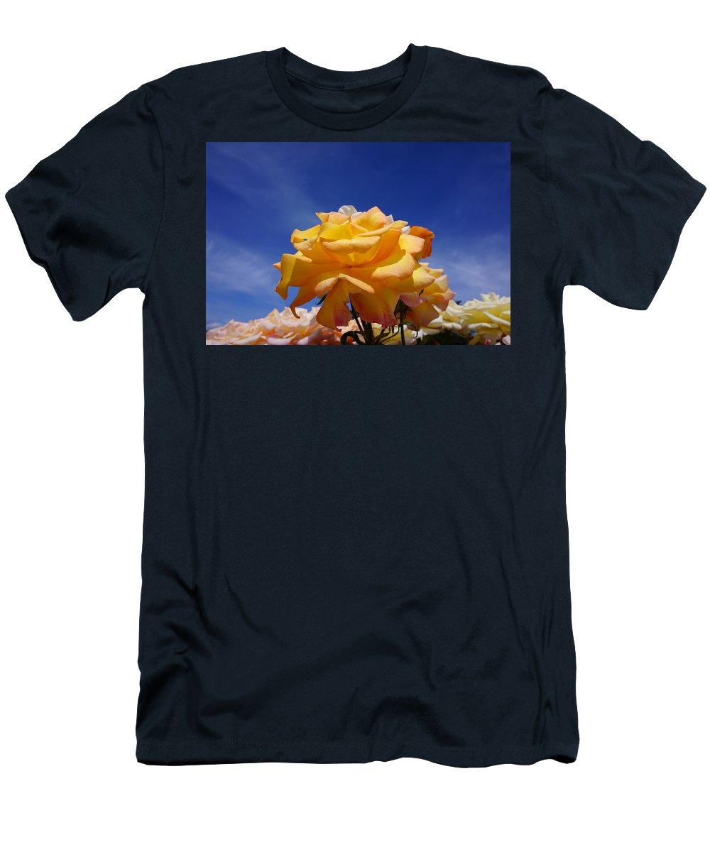 Orange T-Shirt featuring the photograph Yellow Orange Rose Flower Art Prints Blue Sky by Patti Baslee