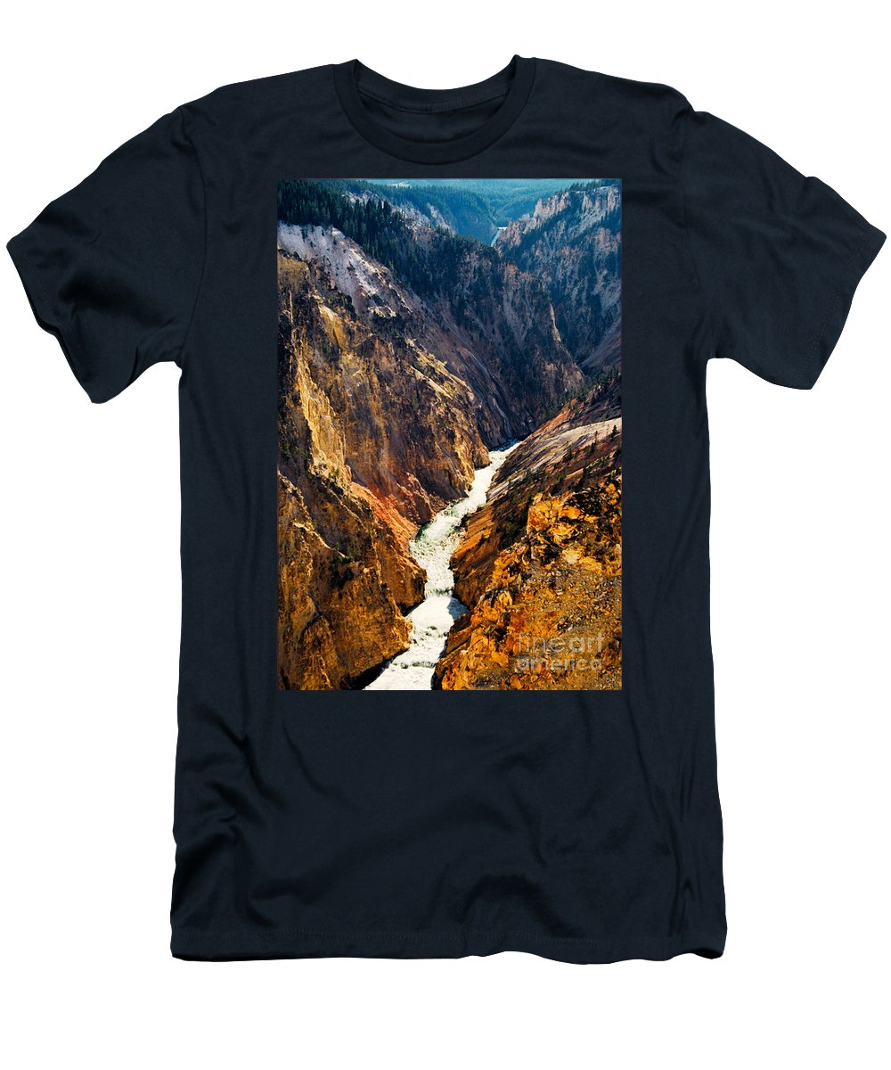 Yellowstone Men's T-Shirt (Athletic Fit) featuring the photograph Yellowstone River by Kathy McClure