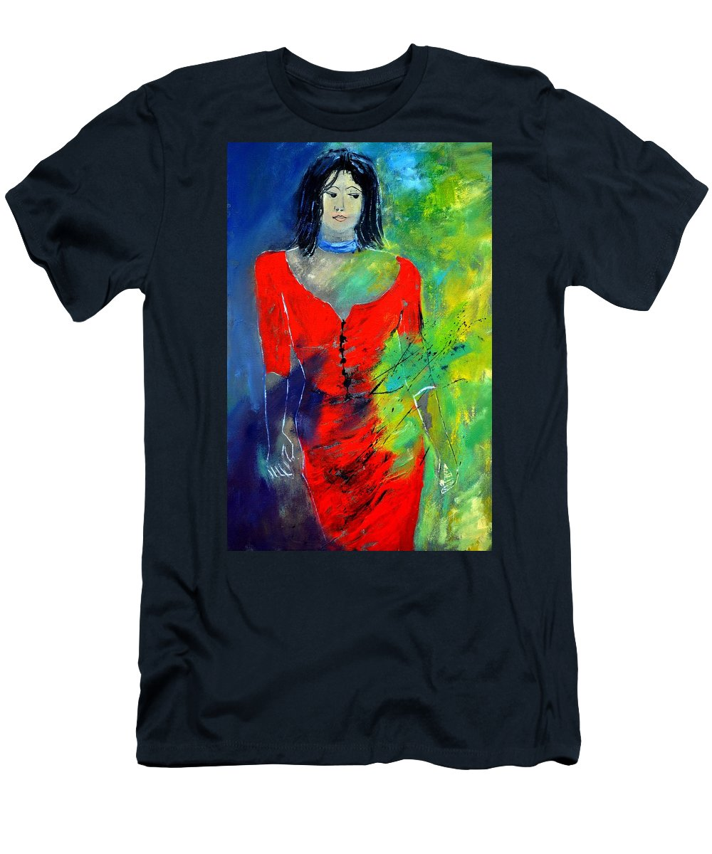 Figurative Men's T-Shirt (Athletic Fit) featuring the painting Young Woman 6431 by Pol Ledent
