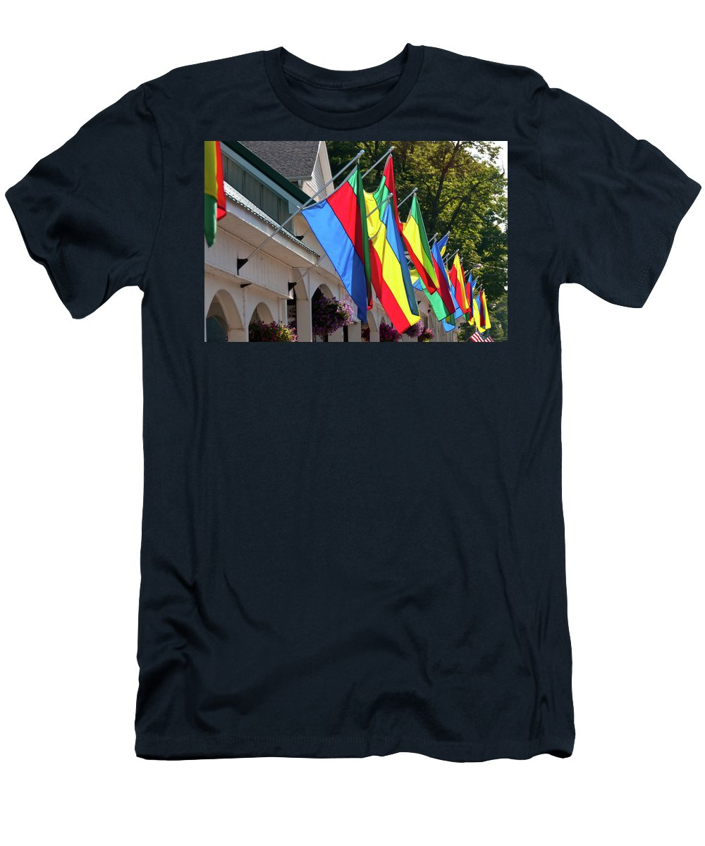Flags Men's T-Shirt (Athletic Fit) featuring the photograph Olcott Flags 7183 by Guy Whiteley