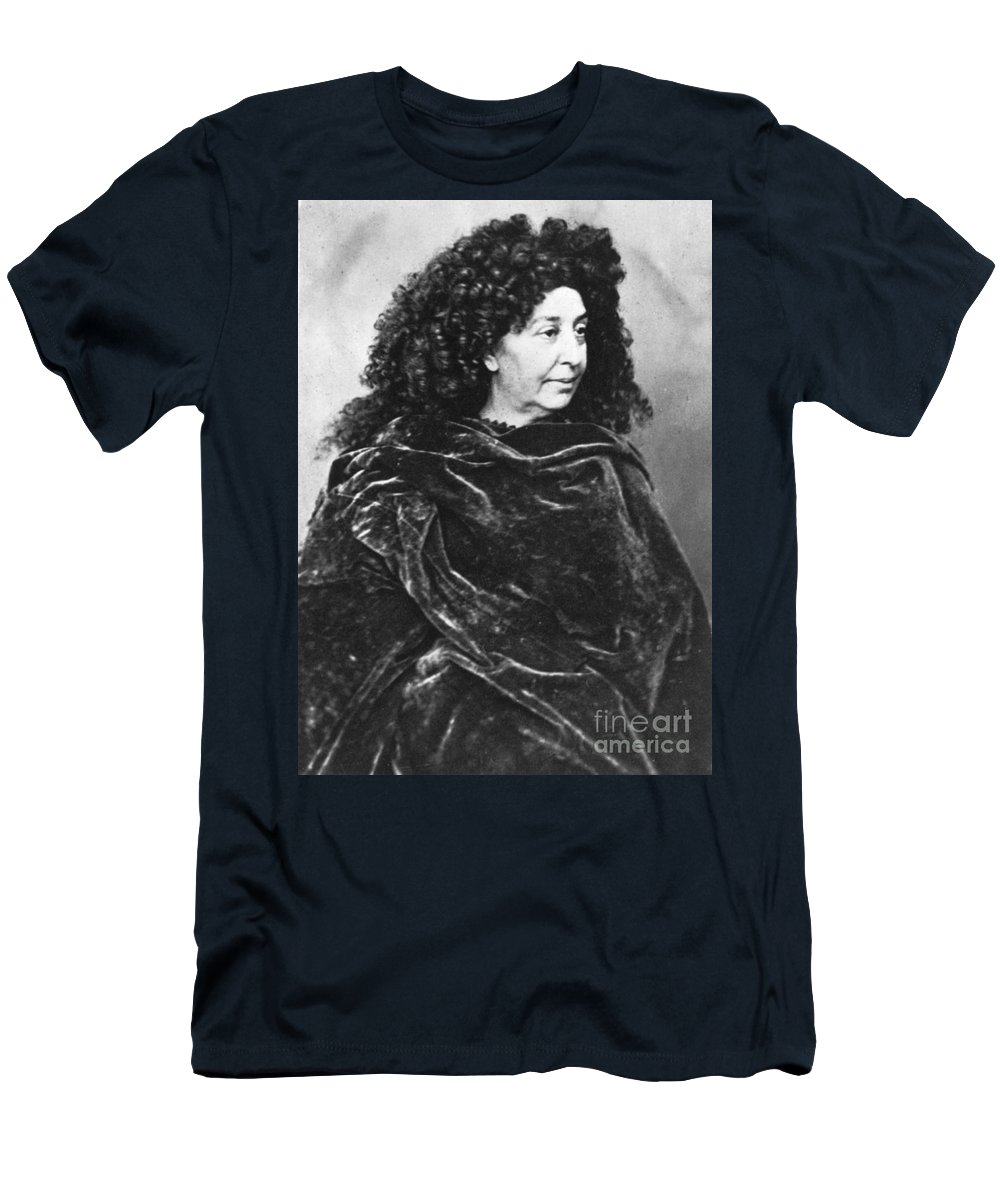 History Men's T-Shirt (Athletic Fit) featuring the photograph George Sand, French Author And Feminist by Photo Researchers