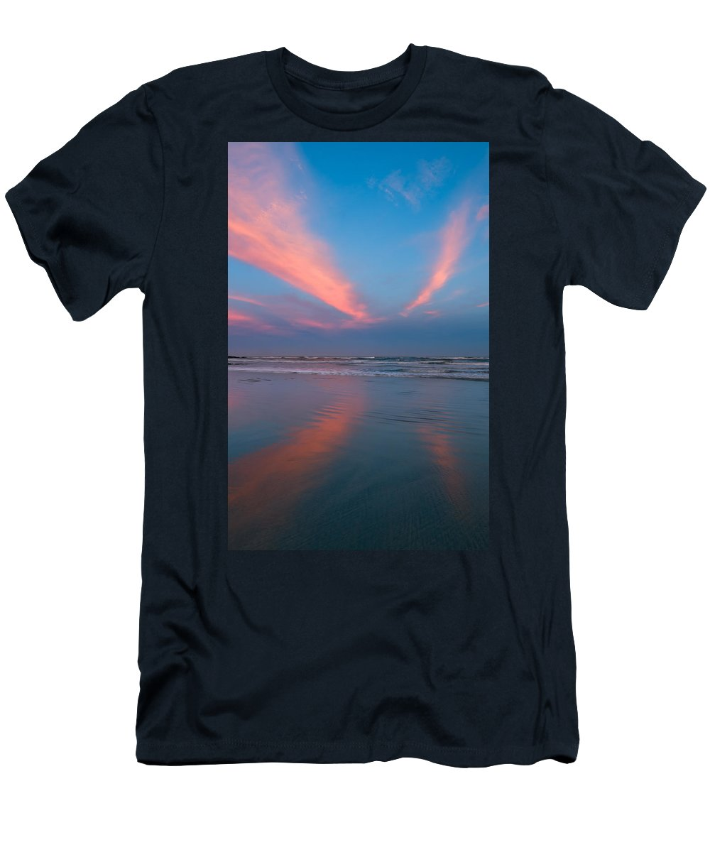 Background Men's T-Shirt (Athletic Fit) featuring the photograph Golden Morning At A Beach by U Schade