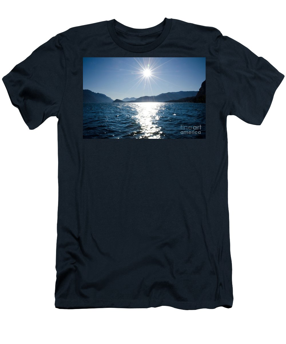 Lake Men's T-Shirt (Athletic Fit) featuring the photograph Sunshine Over An Alpine Lake by Mats Silvan