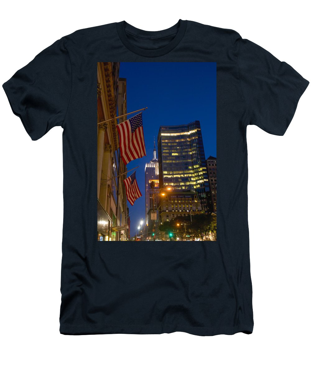 American Flag Men's T-Shirt (Athletic Fit) featuring the photograph The American Flag by Theodore Jones