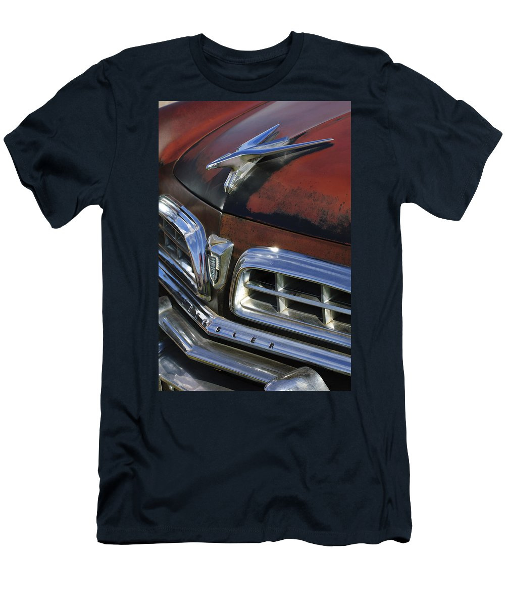 1955 Chrysler Men's T-Shirt (Athletic Fit) featuring the photograph 1955 Chrysler Hood Ornament by Jill Reger