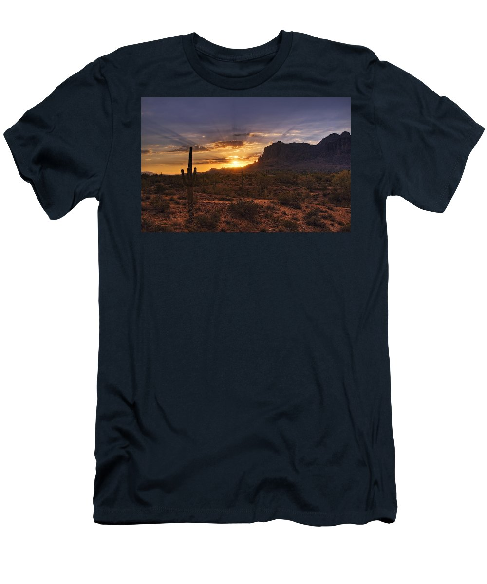 Sunrise Men's T-Shirt (Athletic Fit) featuring the photograph By Dawn's Early Light by Saija Lehtonen