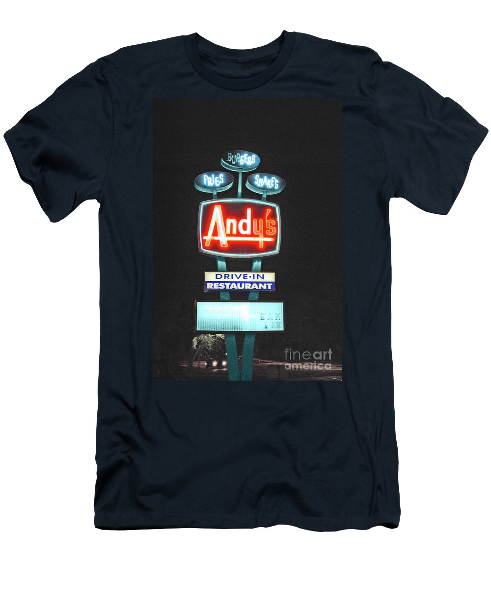 Andy Men's T-Shirt (Athletic Fit) featuring the photograph Andy's Drive-in by Jost Houk