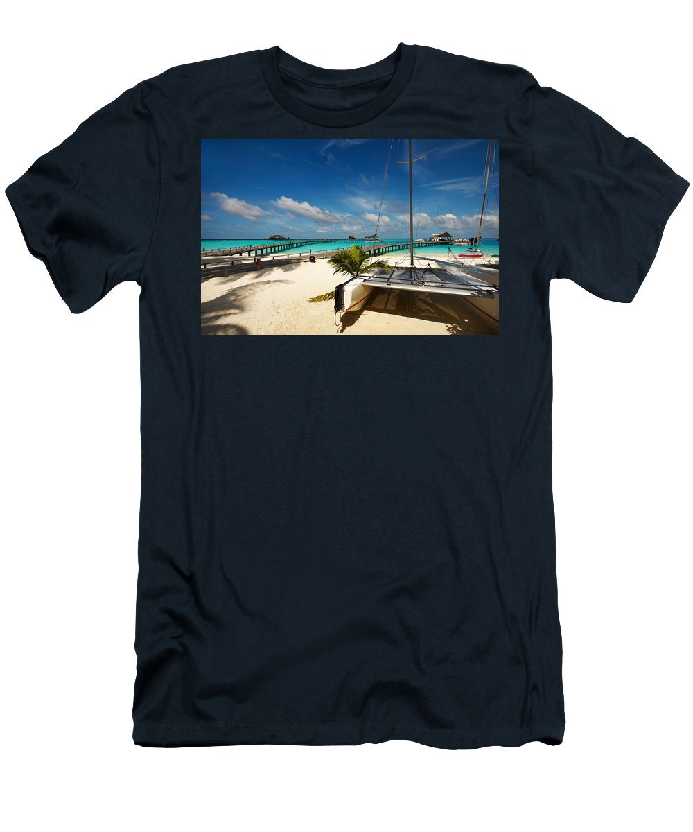 Maldives Men's T-Shirt (Athletic Fit) featuring the photograph Another Day. Maldives by Jenny Rainbow