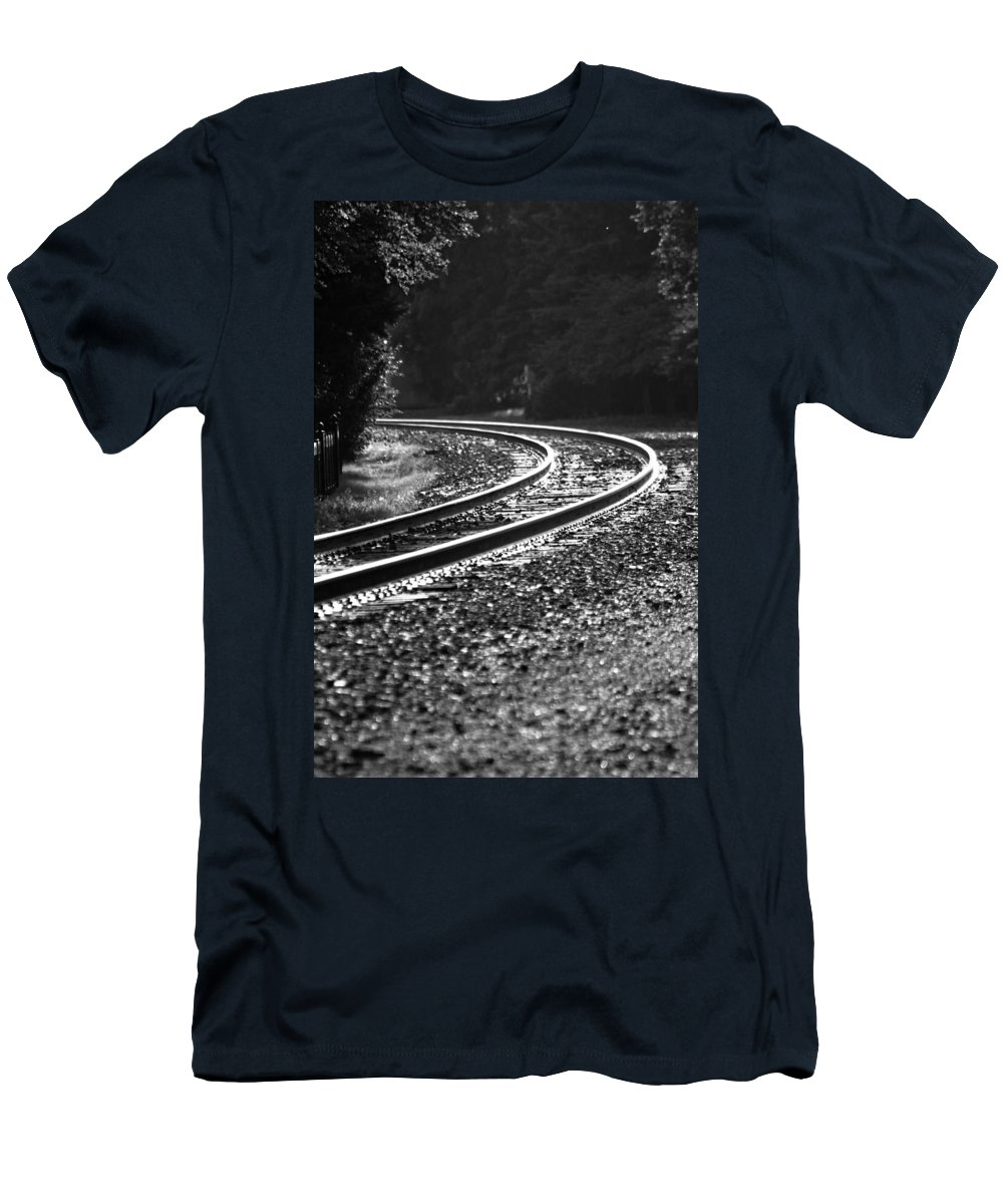 Track Men's T-Shirt (Athletic Fit) featuring the photograph Around The Bend by Lauri Novak
