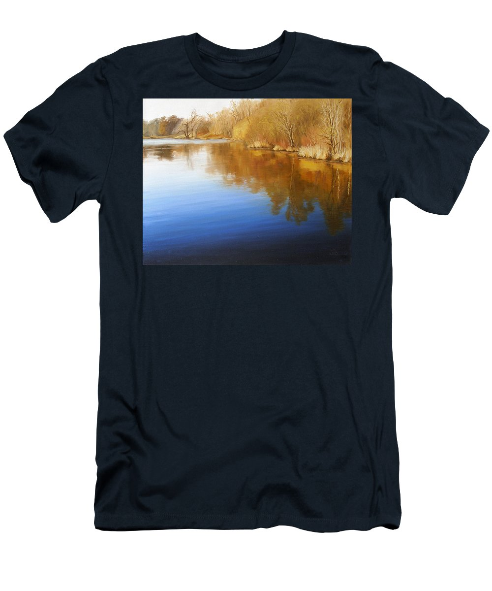 Landscape Men's T-Shirt (Athletic Fit) featuring the painting Autumn River by Olena Lopatina