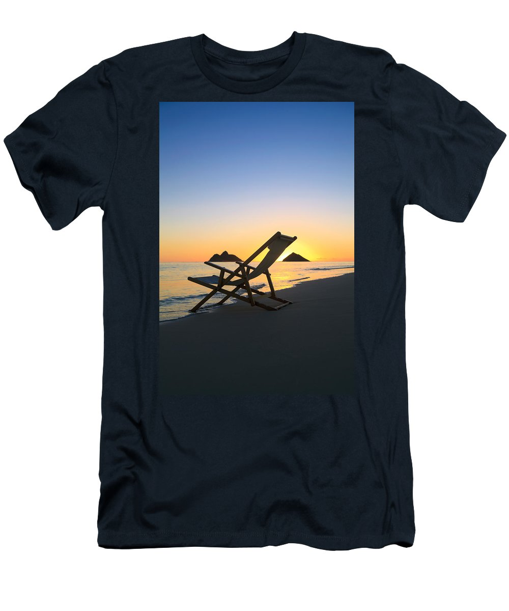 Alone Men's T-Shirt (Athletic Fit) featuring the photograph Beach Chair At Sunrise by Tomas del Amo