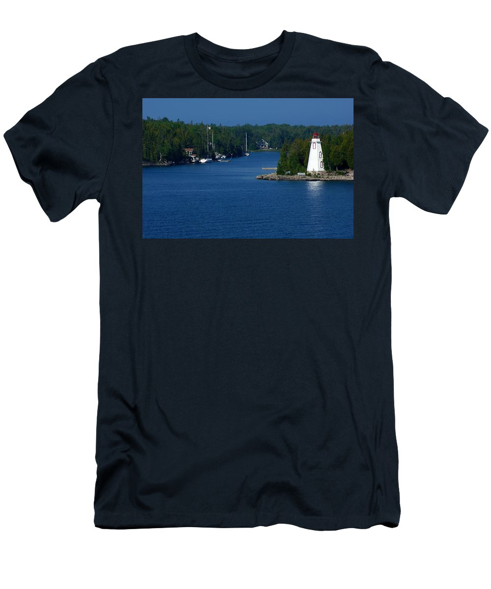 Lighthouse Men's T-Shirt (Athletic Fit) featuring the photograph Big Tub Bay by Cale Best