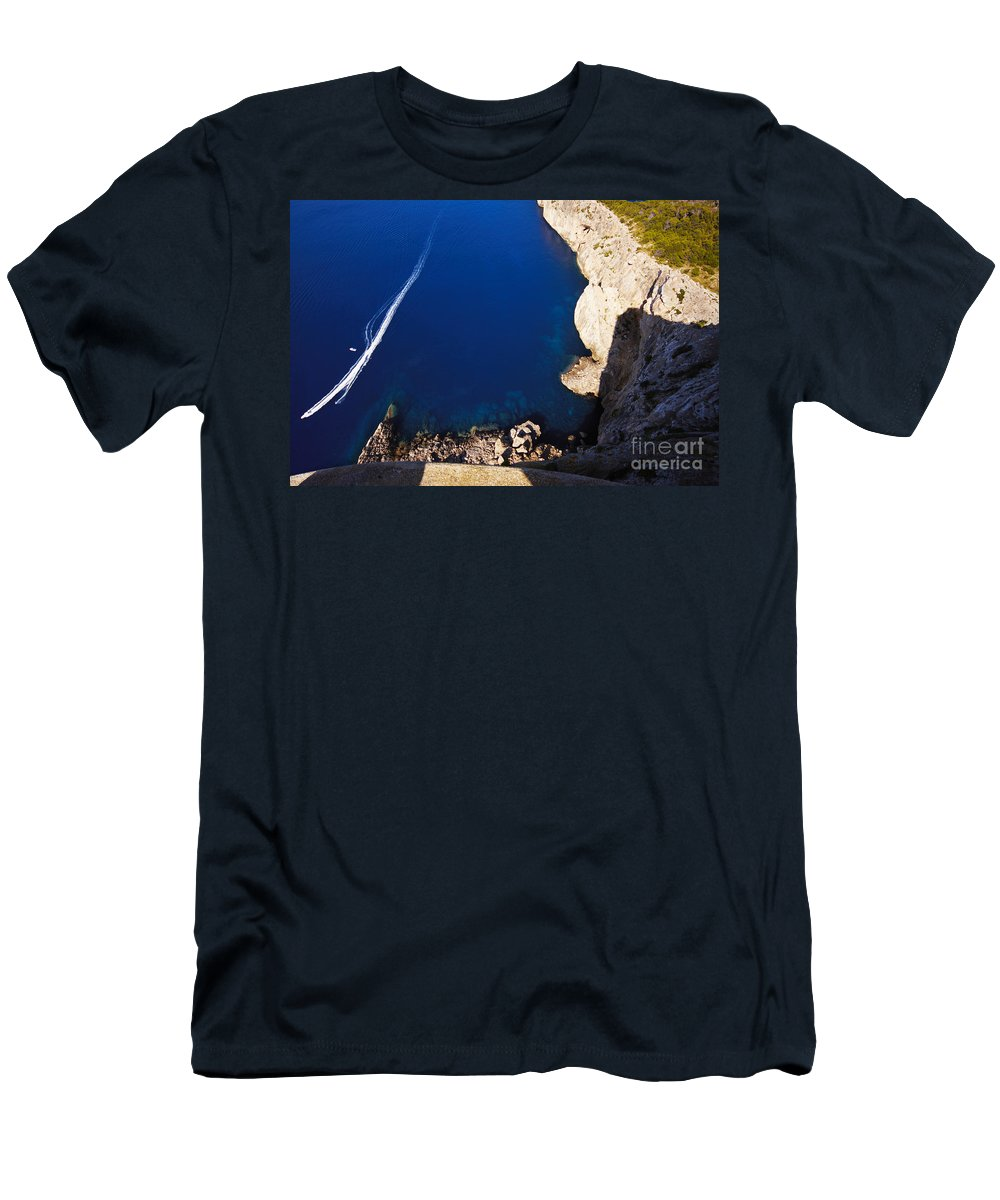 Boat Men's T-Shirt (Athletic Fit) featuring the photograph Boat In The Sea by Agusti Pardo Rossello