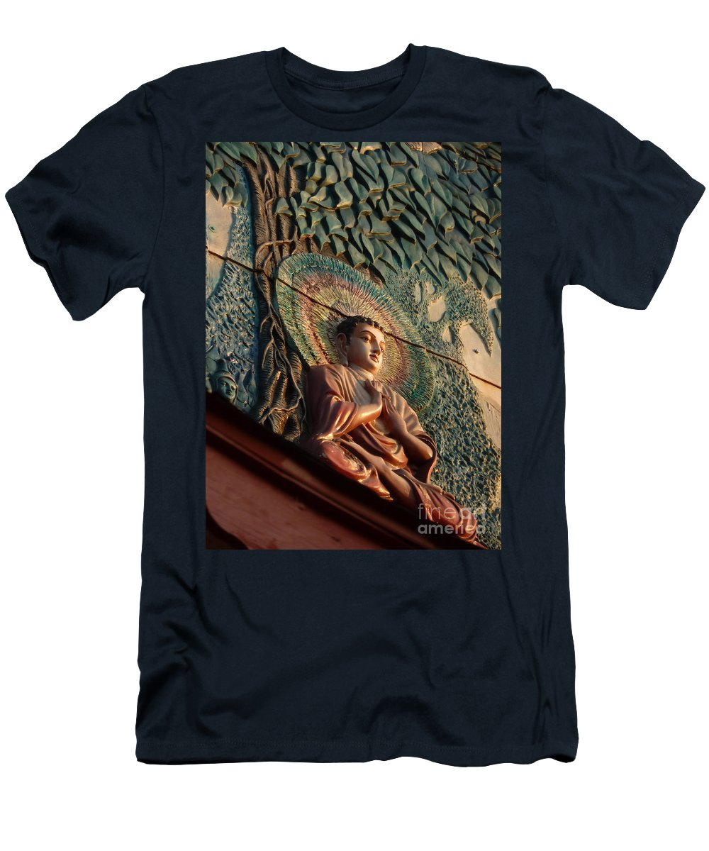 Leaf Men's T-Shirt (Athletic Fit) featuring the photograph Buddha Relief by Angela Wright