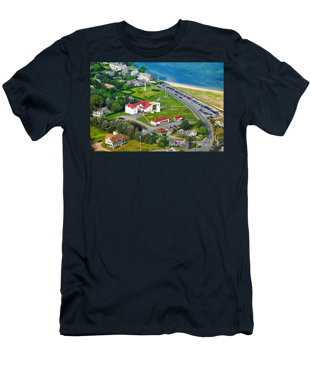 Aerial Men's T-Shirt (Athletic Fit) featuring the photograph Chatham Lighthouse Cape Cod Massachusetts by Matt Suess