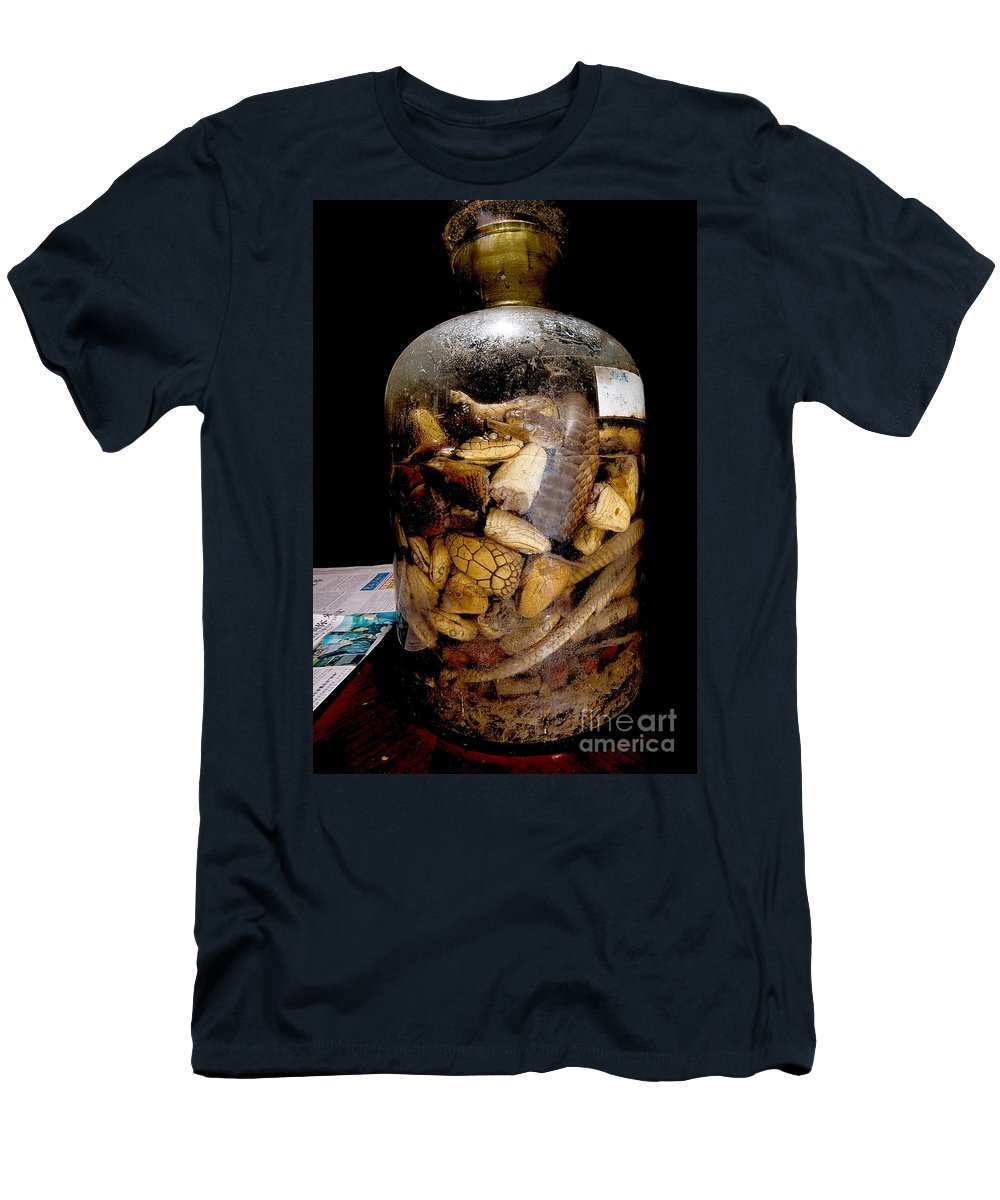 Snake Wine Men's T-Shirt (Athletic Fit) featuring the photograph Chinese Snake Wine by Dant� Fenolio