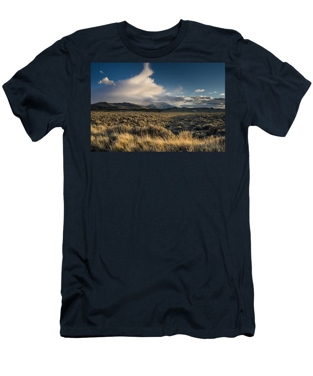 Great Basin Men's T-Shirt (Athletic Fit) featuring the photograph Clouds Over East Humboldts by Greg Nyquist