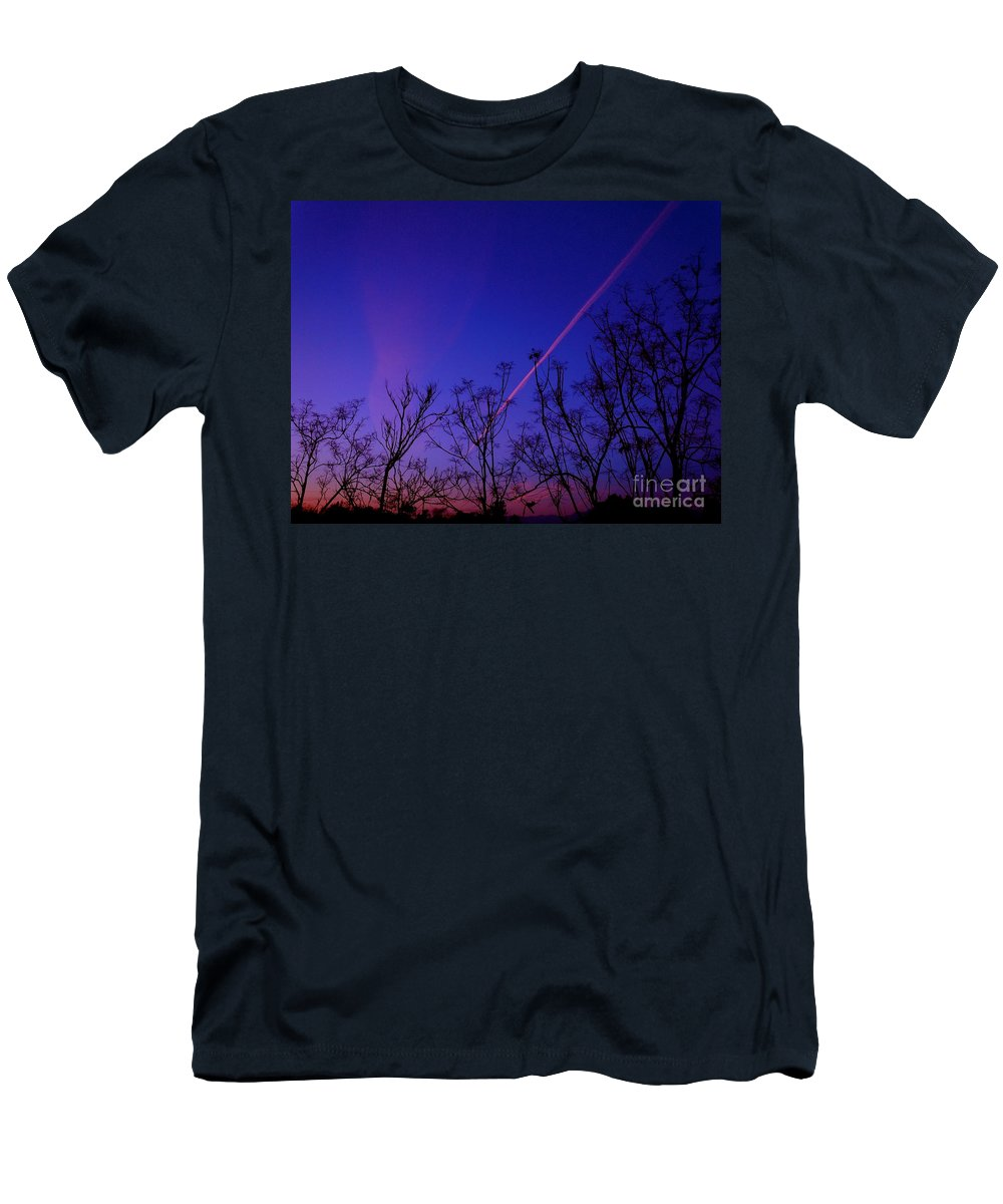 Contrail Men's T-Shirt (Athletic Fit) featuring the photograph Contrail Contrast by Customikes Fun Photography and Film Aka K Mikael Wallin