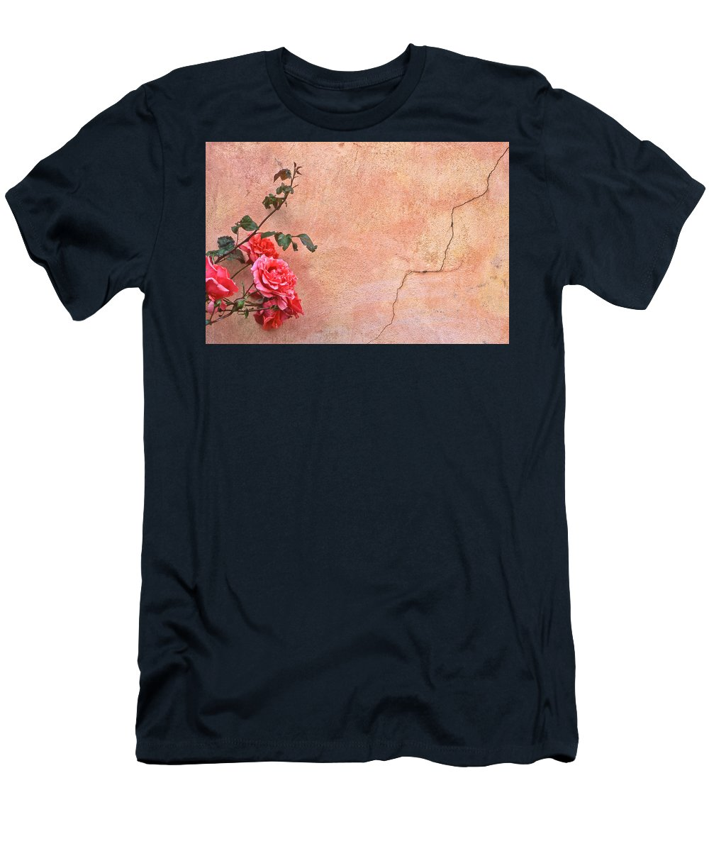 Rose Men's T-Shirt (Athletic Fit) featuring the photograph Cracked Wall And Rose by Tom and Pat Cory