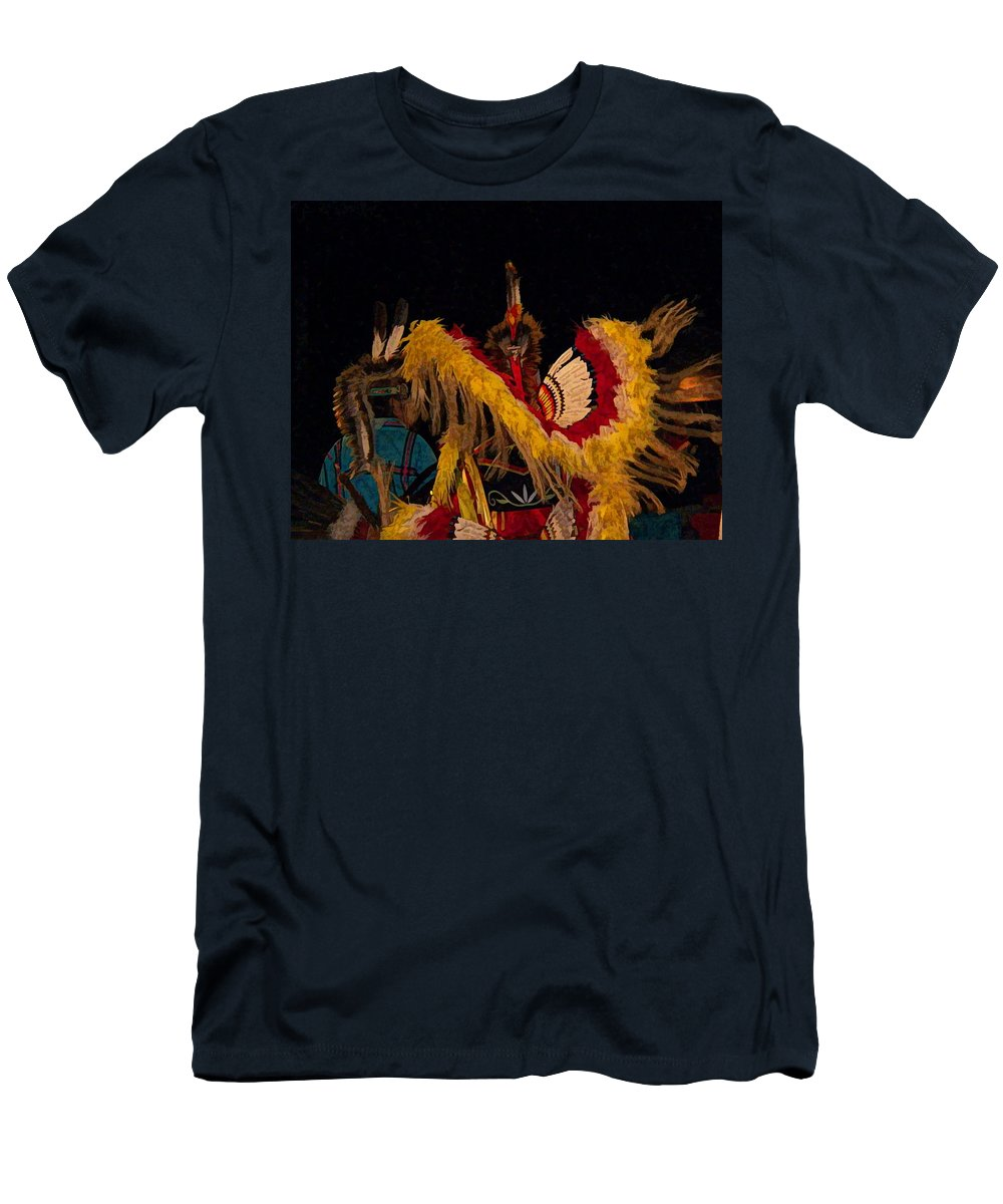 Native Men's T-Shirt (Athletic Fit) featuring the digital art Dancing Feathers by Christy Leigh
