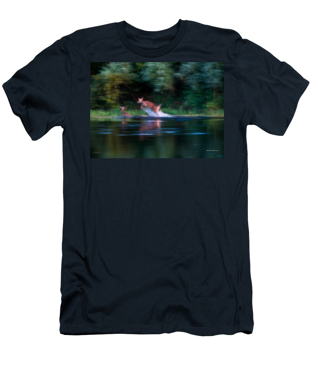Heron Haven Men's T-Shirt (Athletic Fit) featuring the photograph Deer Splash by Edward Peterson