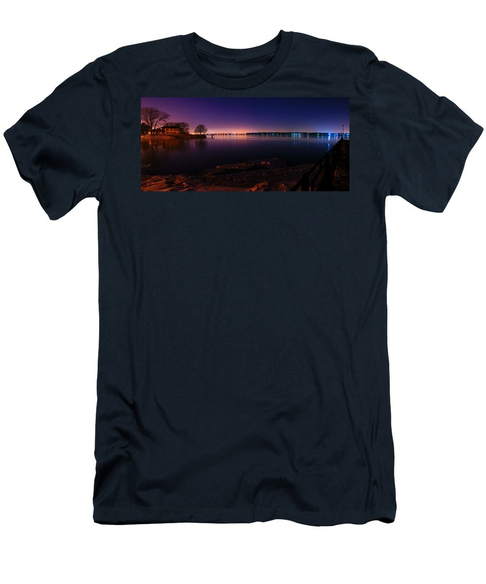 Windsor Men's T-Shirt (Athletic Fit) featuring the photograph Detroit River Panorama by Cale Best