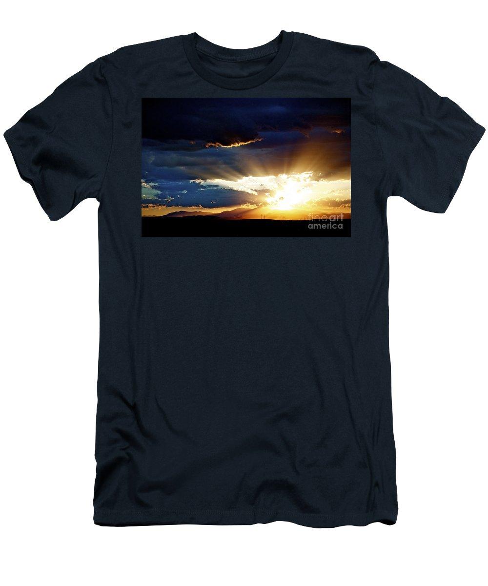 Sunset Men's T-Shirt (Athletic Fit) featuring the photograph Distant Horizon by Anjanette Douglas
