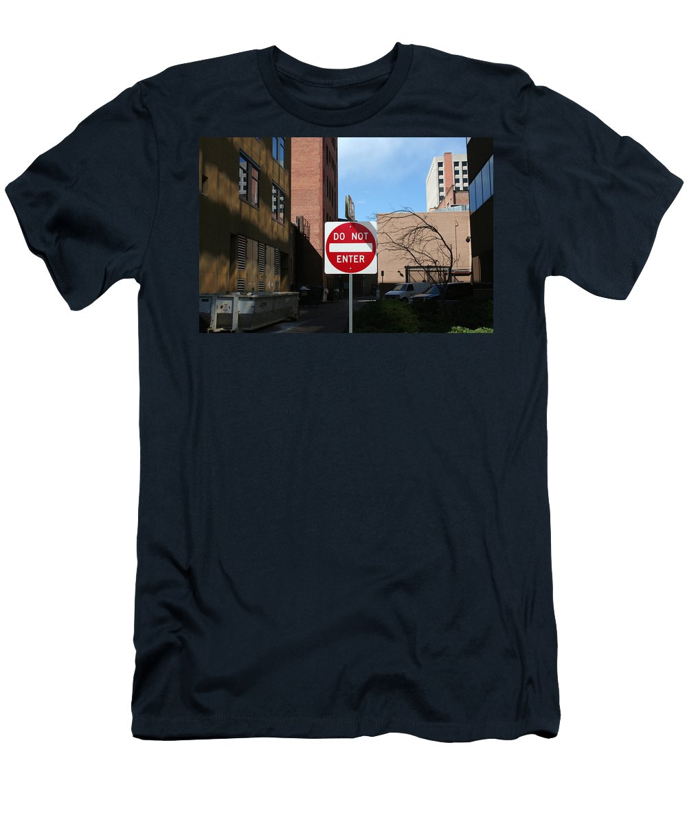 Do Not Enter Sign Men's T-Shirt (Athletic Fit) featuring the photograph Do Not Enter by Ric Bascobert