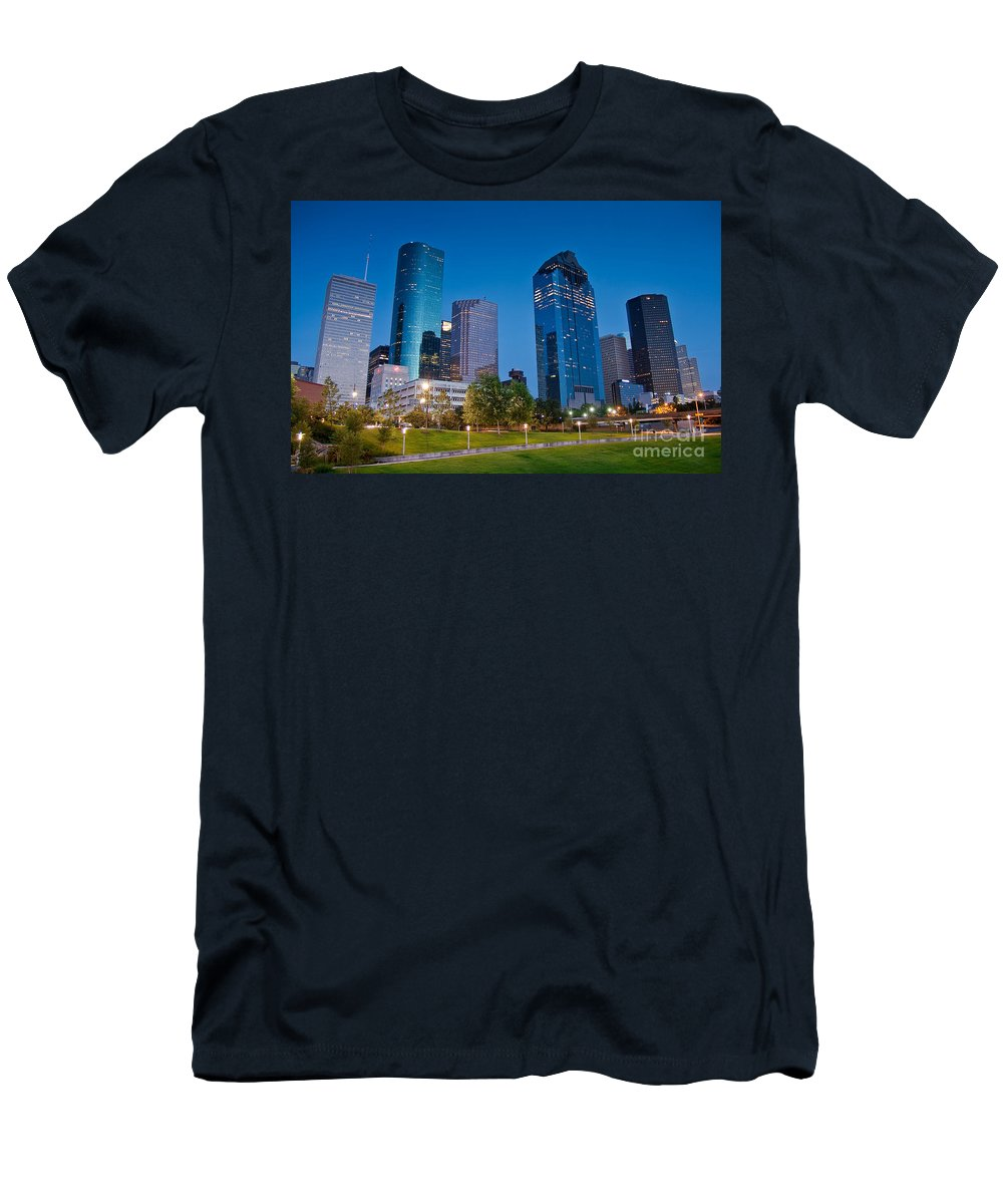 Downtown Men's T-Shirt (Athletic Fit) featuring the photograph Downtown Houston by Olivier Steiner