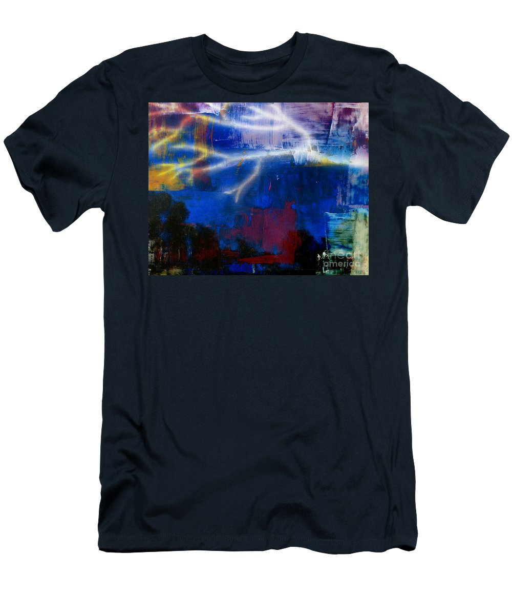 Lightening Men's T-Shirt (Athletic Fit) featuring the mixed media Enlightened by Beverly Restelle