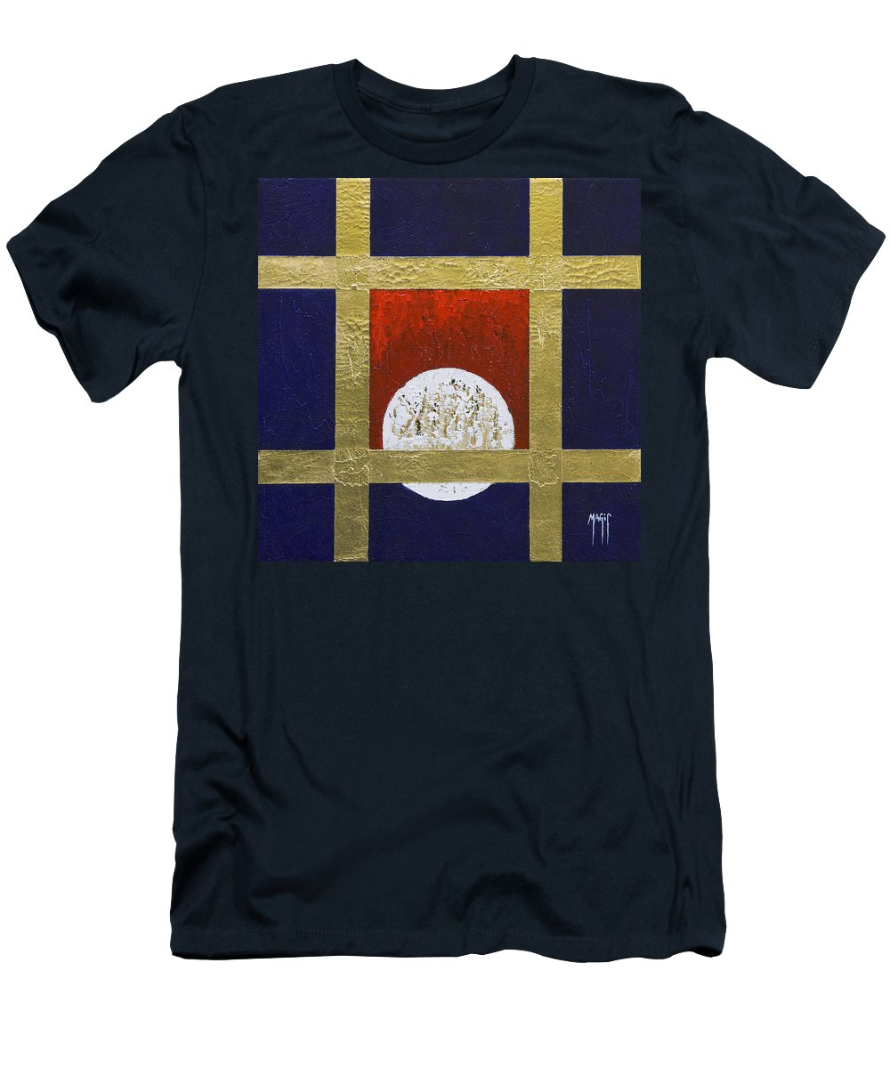 Art Men's T-Shirt (Athletic Fit) featuring the painting Full Moon by Mauro Celotti
