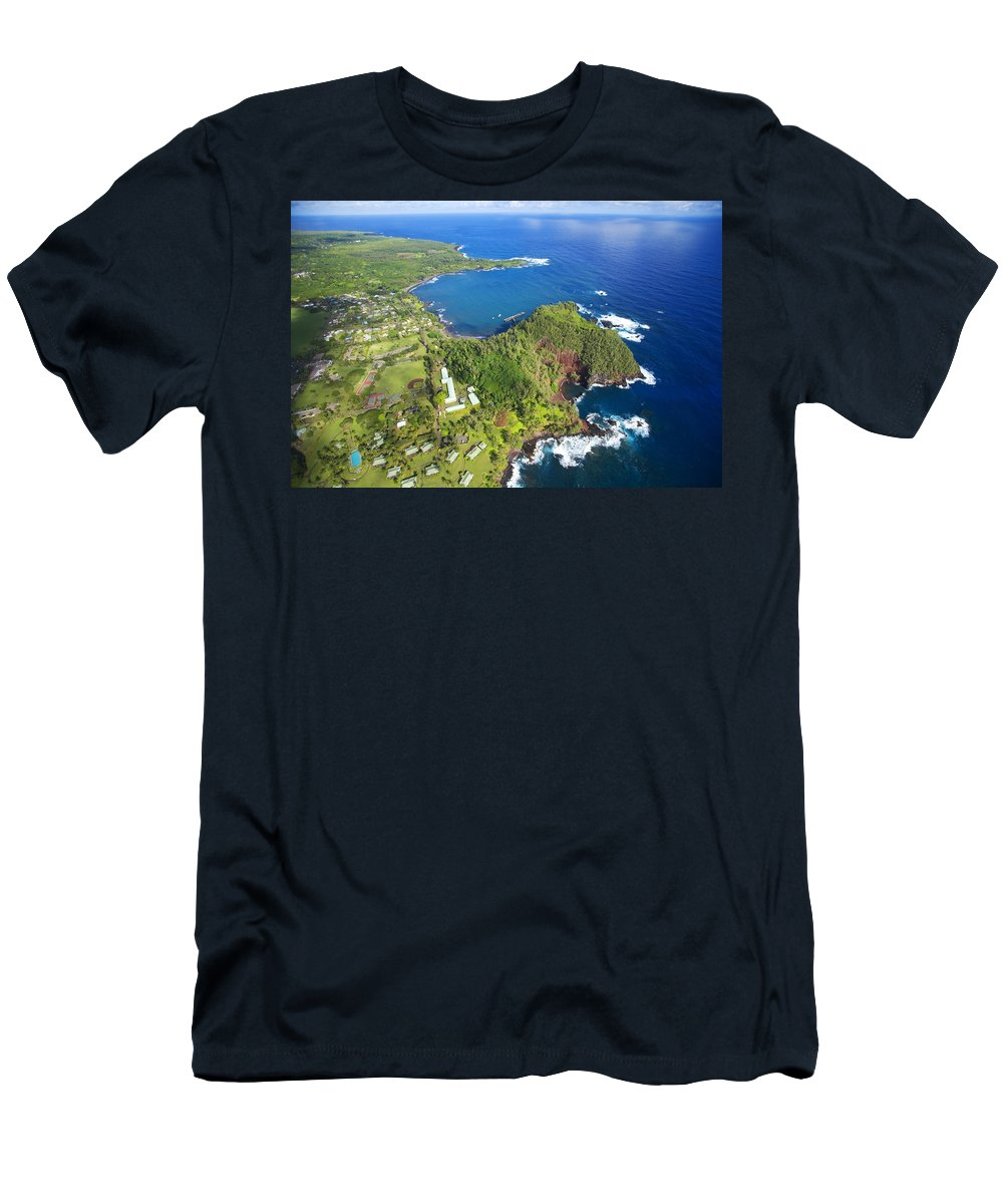 Aerial Men's T-Shirt (Athletic Fit) featuring the photograph Hana Aerial by Ron Dahlquist - Printscapes