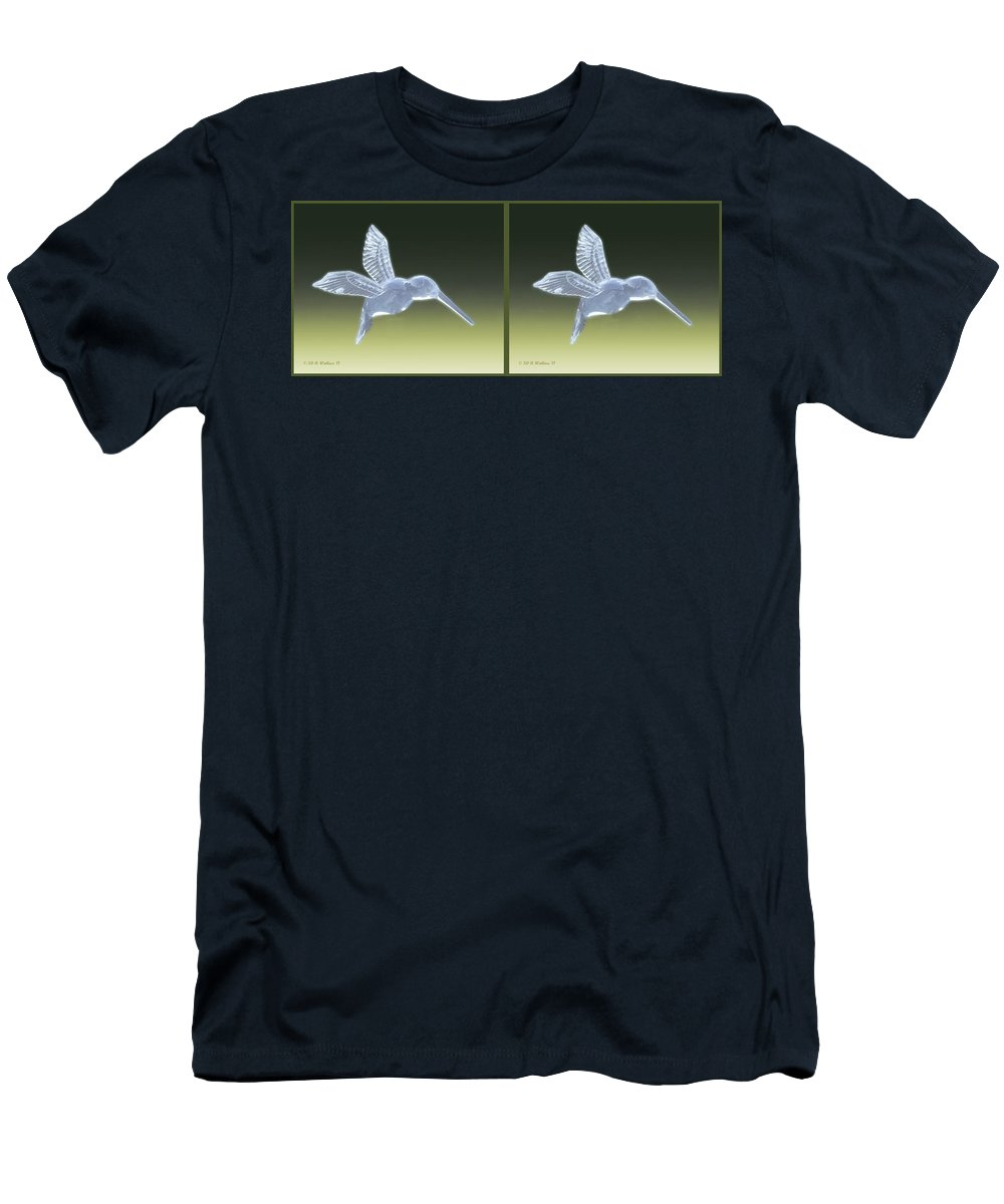 3d Men's T-Shirt (Athletic Fit) featuring the photograph Hummingbird - Gently Cross Your Eyes And Focus On The Middle Image by Brian Wallace