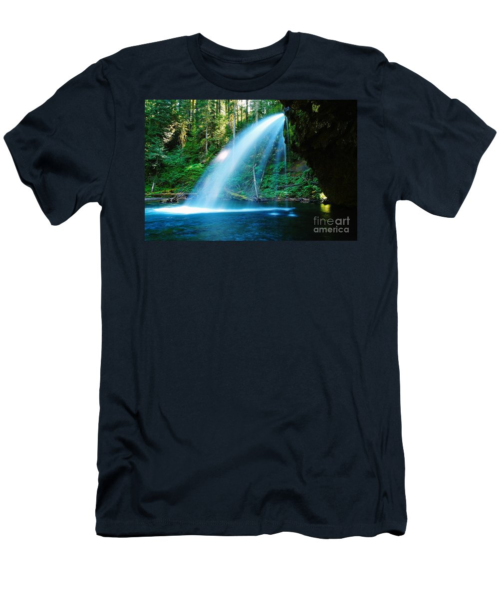 Water. Fall Men's T-Shirt (Athletic Fit) featuring the photograph Iron Creek Falls From The Side by Jeff Swan