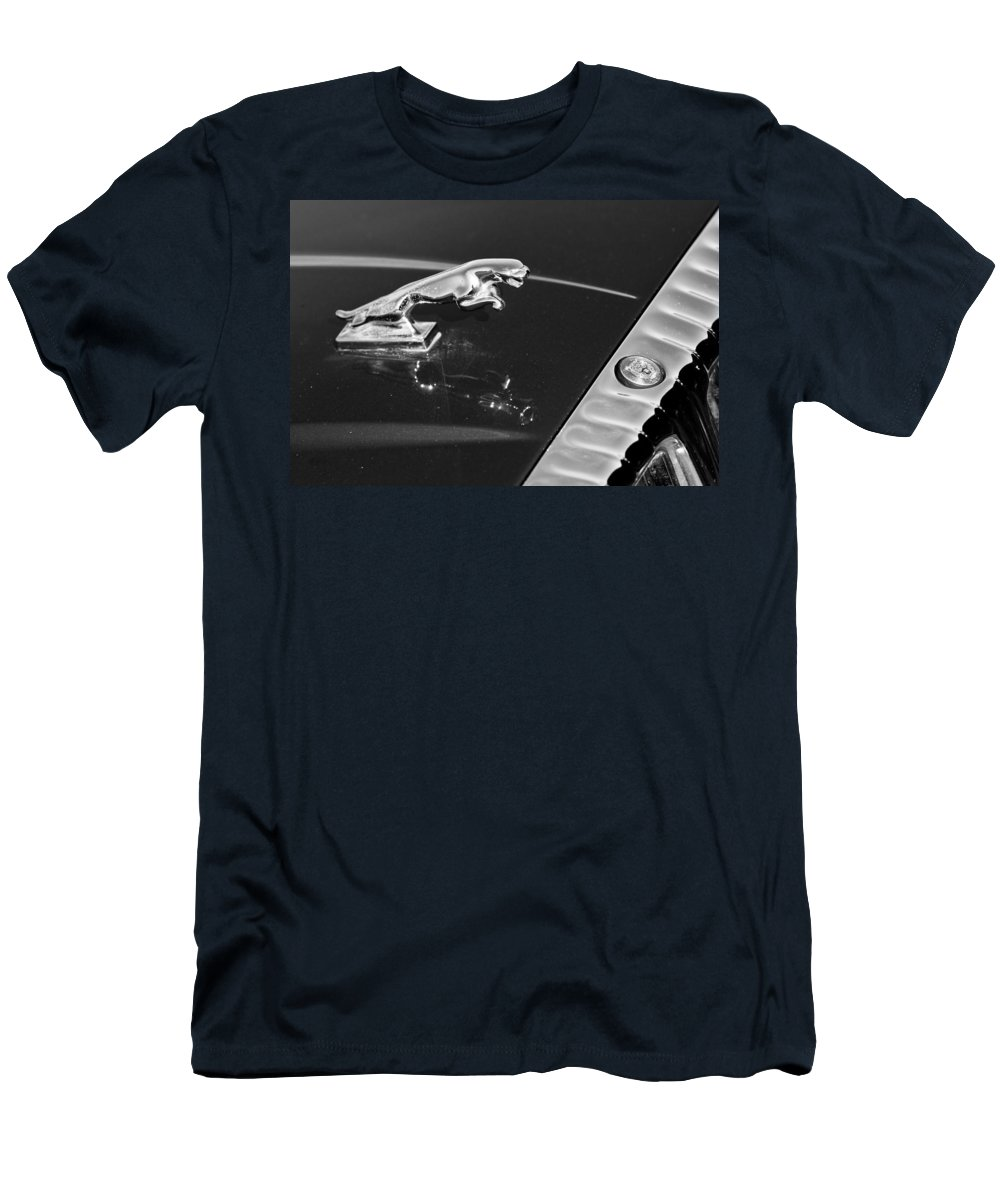 Auto Men's T-Shirt (Athletic Fit) featuring the photograph Jaguar Hood Ornament In Black And White by James BO Insogna