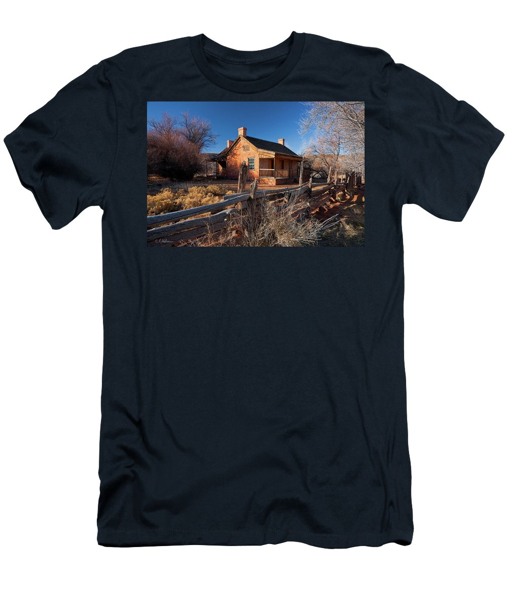 Home Men's T-Shirt (Athletic Fit) featuring the photograph John And Ellen Wood Home by Christopher Holmes