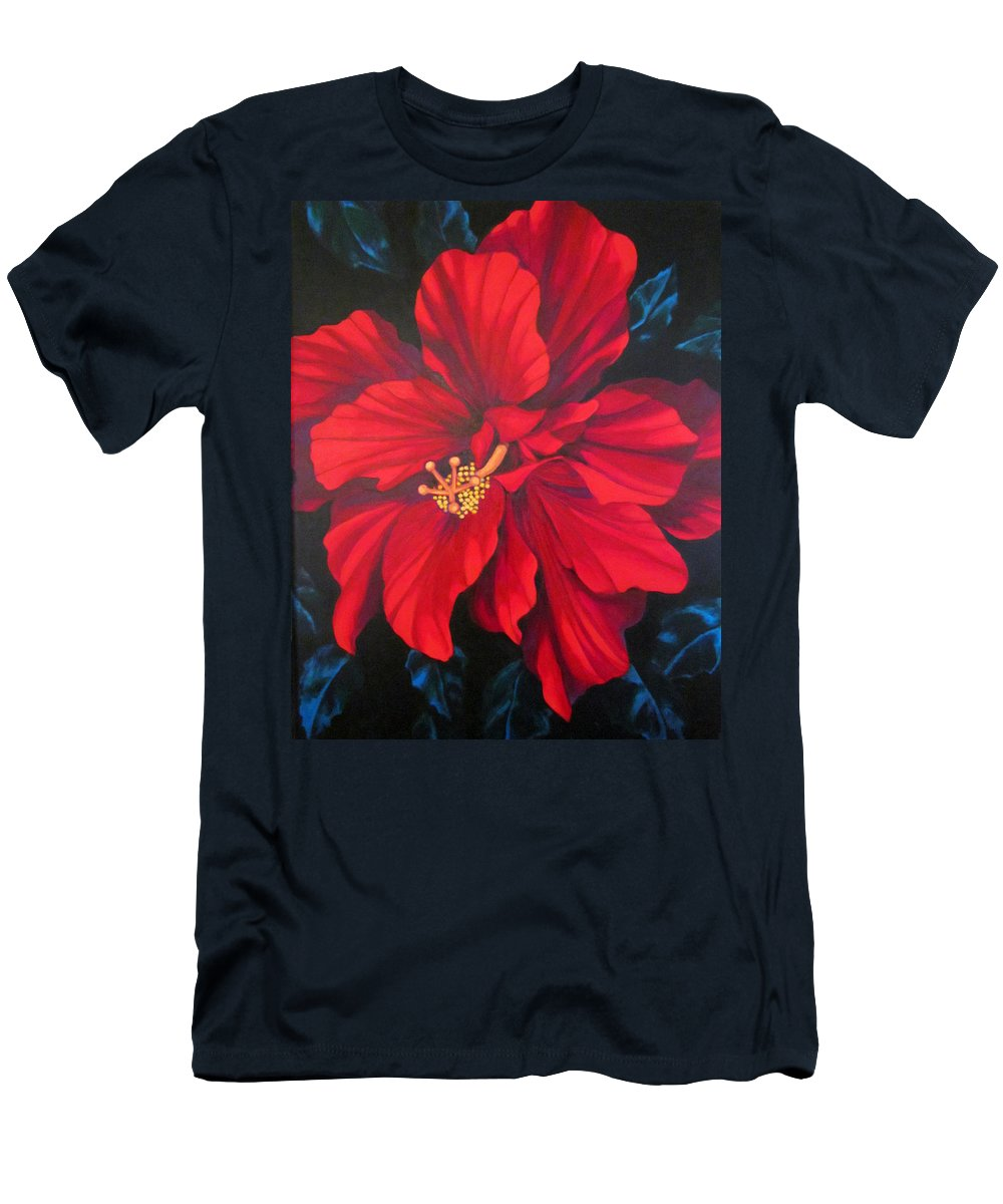 Red Multiple Petaled Hibiscus Flower. Men's T-Shirt (Athletic Fit) featuring the painting Kwan Yin by Kyra Belan