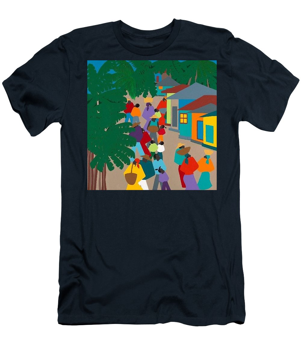 Haiti Men's T-Shirt (Athletic Fit) featuring the painting Le Village by Synthia SAINT JAMES
