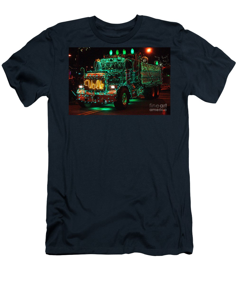 Christmas Lights Men's T-Shirt (Athletic Fit) featuring the photograph Lighted Green Dumptruck by Randy Harris
