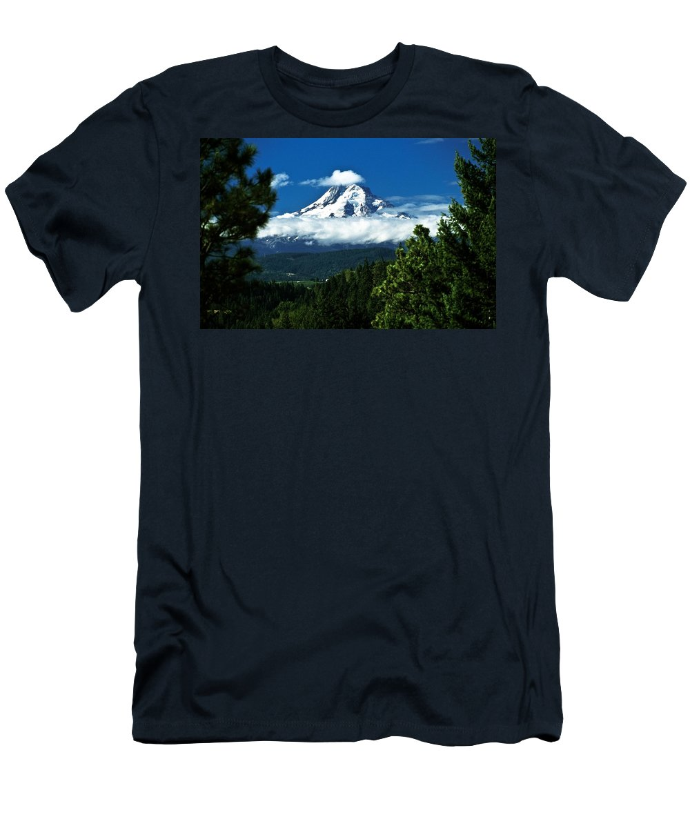 Clouds Men's T-Shirt (Athletic Fit) featuring the photograph Mount Hood Framed By Trees, Oregon, Usa by John Doornkamp