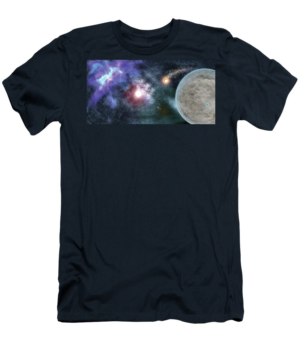 Space Men's T-Shirt (Athletic Fit) featuring the digital art Out There by Shere Crossman