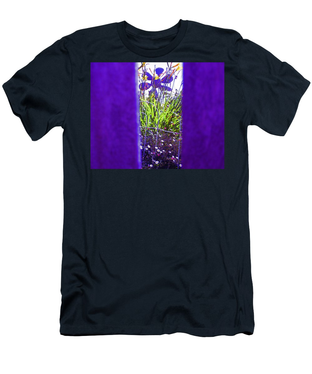 Garden Art In Purple Men's T-Shirt (Athletic Fit) featuring the photograph Peeping Thru The Fence by Kym Backland
