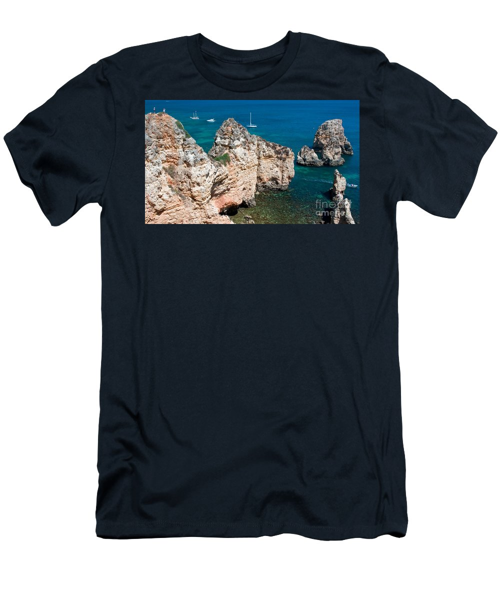 Scenic Men's T-Shirt (Athletic Fit) featuring the photograph Peidades Coast Portugal by Jim Chamberlain